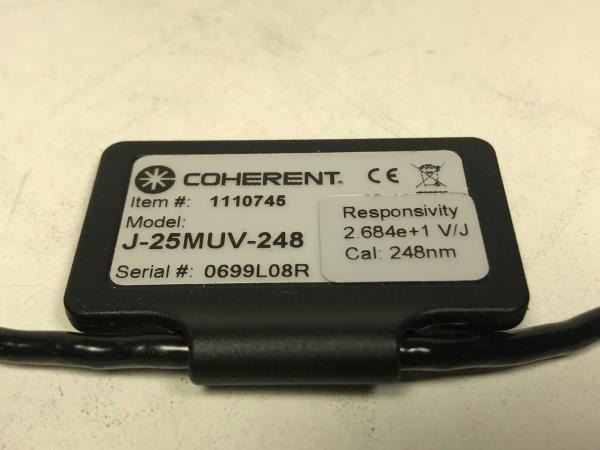 Coherent EnergyMax J25-MUV Detector Serial Number Tag